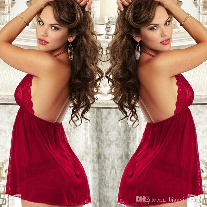 2020 Porno Red Sexy Womens Lingerie Backless Lace Halter