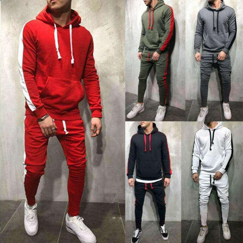 Mens Casual Tracksuit Set Gym Sports Hooded Hoodies Pencil Pant Striped Jogging Joggers Outfit Hot Clothing