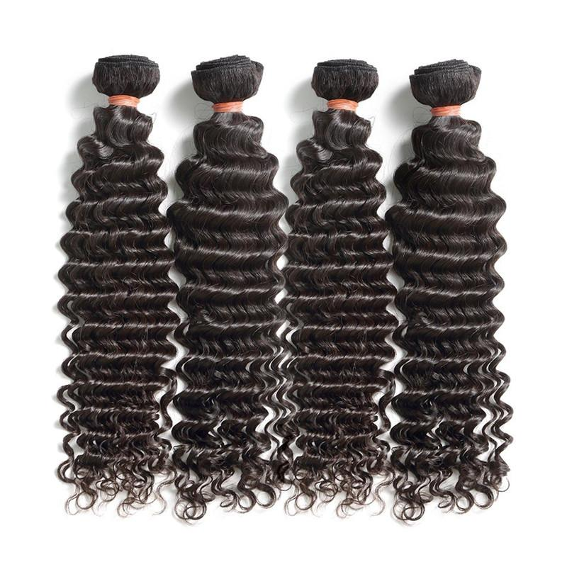 Unproessed Brazilian Deep Wave Virgin Human Hair Bundles 4Pcs 400g Lot Cuticle Aligned Virgin Hair Cut From One Donor Natural Color