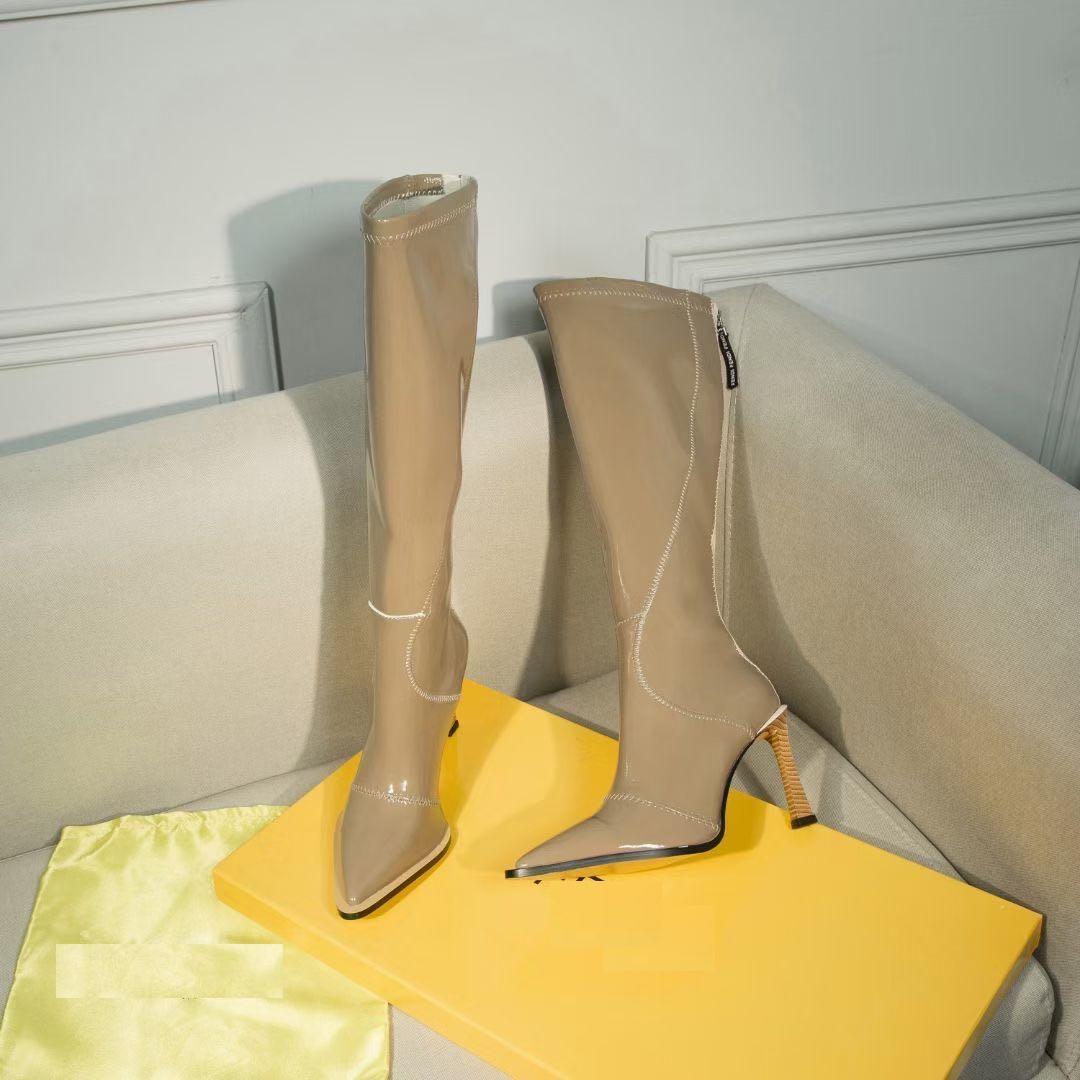 Sonbahar / Kış Yeni Stil Over-Diz Çizmeli Sivri Toes ve İnce Deri Bacaklar Kaymaz ve Solmayan Deri