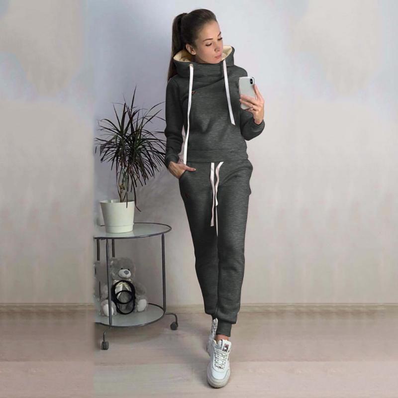 Sport Anzug für Frauen-Mode-Frauen-beiläufige feste Kapuze langen Hülsen-Sport-Tops + lange Hose Sport Jogger Sets Lauf # 3