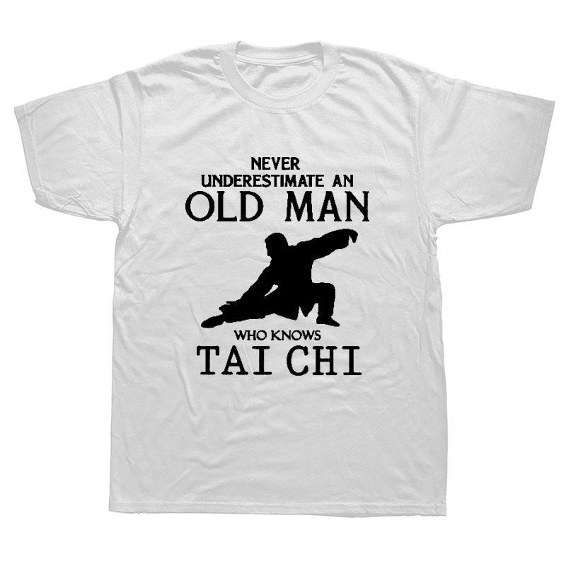 Personalizado Humor T Shirt For Men Cotton Tai Chi Nunca subestime um velho homem que sabe t-shirt