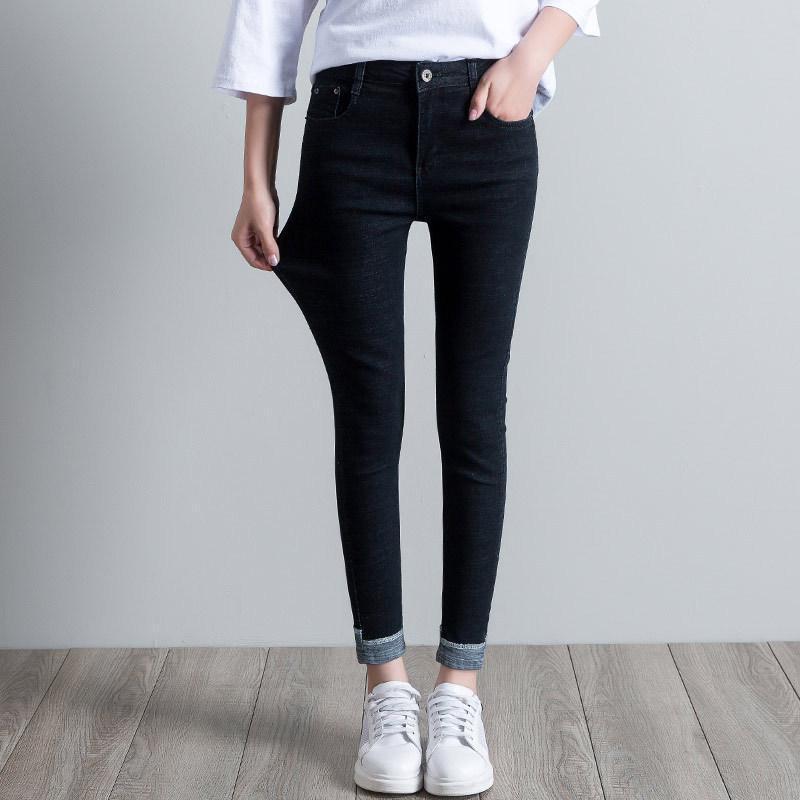 2020 de primavera y verano más el tamaño de las mujeres ocasionales jeans ajustados ajuste delgado de algodón elástico de cintura alta dril de algodón Lápiz Pantalones para Mujer