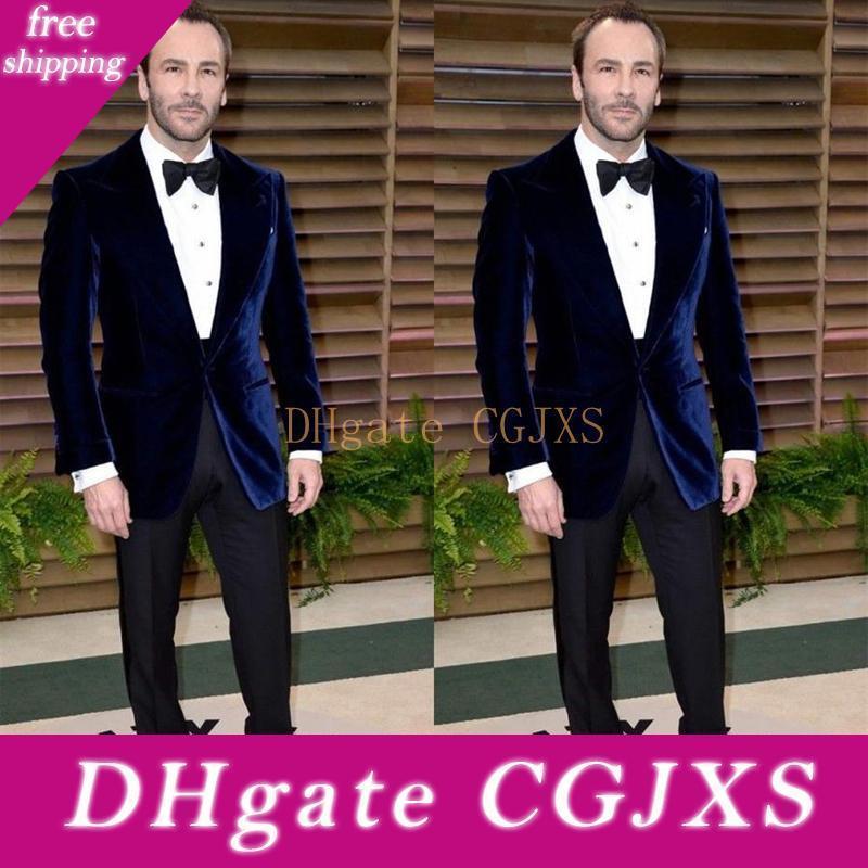 Apuestos Trajes Blue Velvet padrinos de boda para los hombres del partido formal elegante dos piezas boda del novio de los smokinges mejor hombre Prom Blazer Suit (pantalones de la chaqueta)
