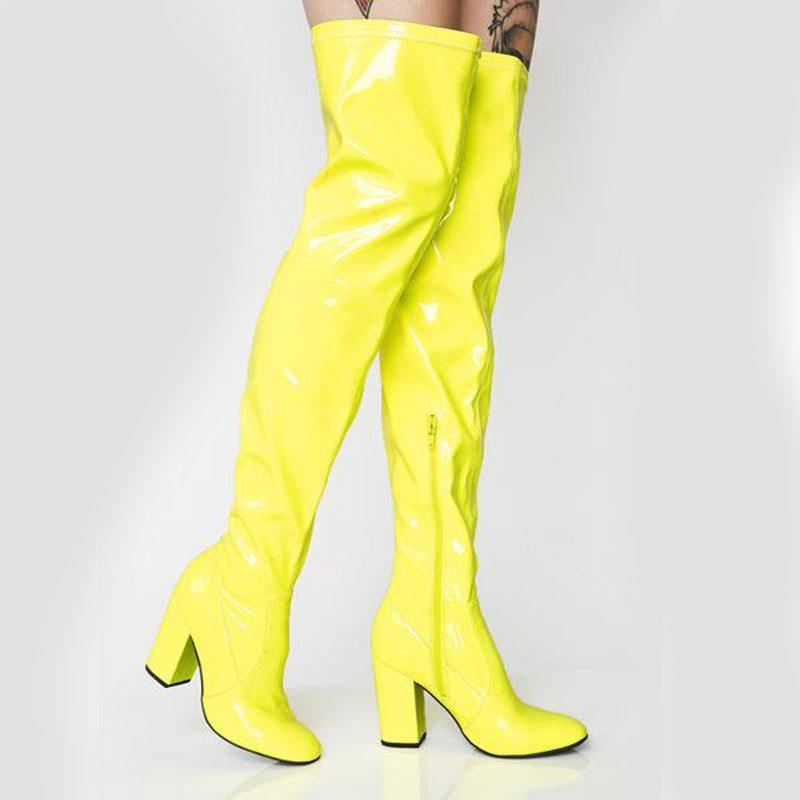 AGODOR Sexy Festa Neon sapatas da mulher sobre o joelho botas Meninas Fancy Dress-High Heel Patent mulheres botas de couro brilhante Longa