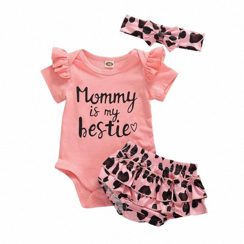 2020 2020 estate del bambino delle neonate vestiti di estate manica corta pagliaccetto Tops + Leopard increspato Shorts fascia Abiti Set q7iv #
