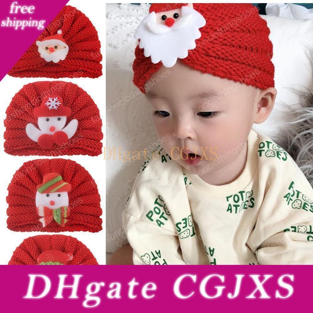 2020 Hat Knit New Children S Christmas Baby Outono-Inverno Quente Lã Tricot Chapéus Criança Bebés Meninas Beanie Turban Cap 5 Styles