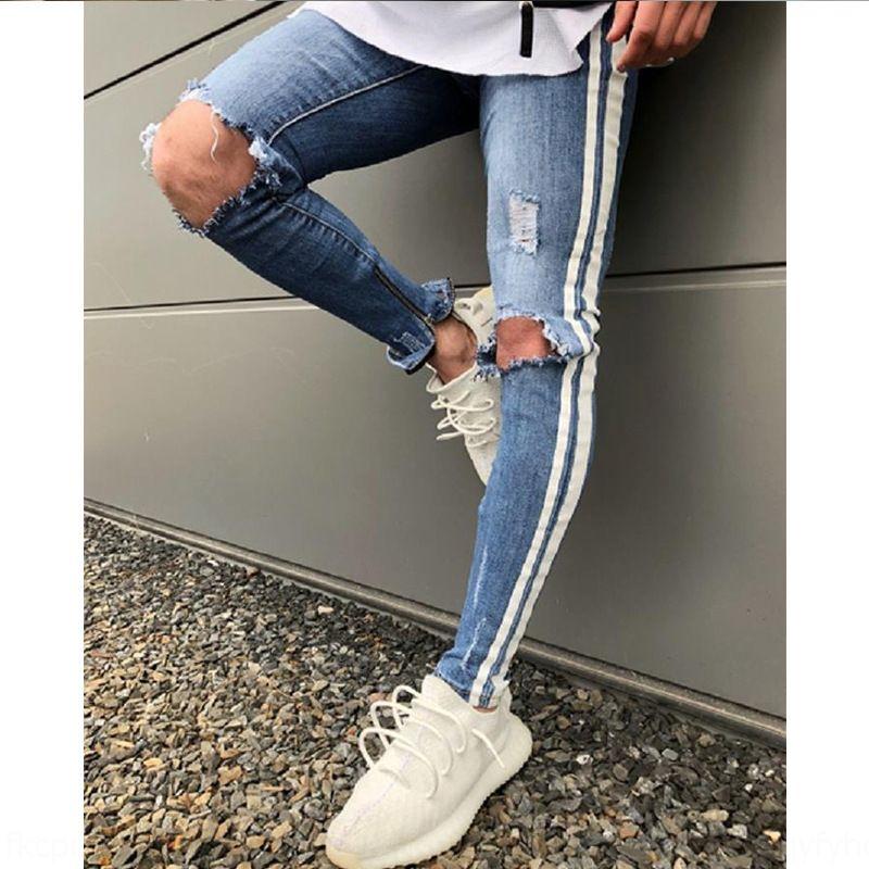 joelho apLjQ de Homens apertado jeans rasgados das calças de outono novos esportes fino calças apertadas Jeans Y8iXo leggings homens