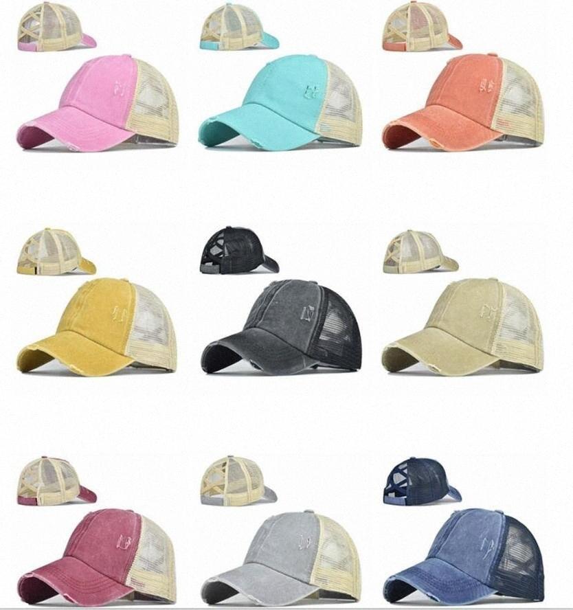 Ponytail Casquettes de base-ball Messy Buns Chapeaux les filles d'été en coton délavé Chapeau unisexe pare-soleil Chapeau Outdoor snapback Caps avec l'étiquette WB755 zwFo #