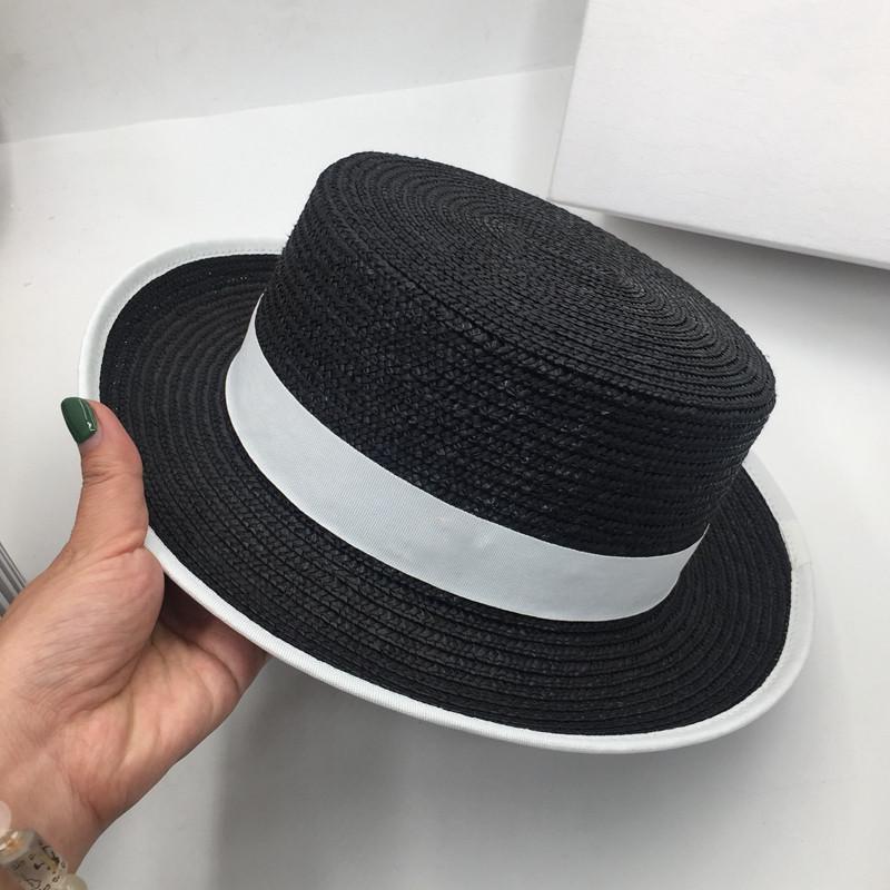 Французский элегантных соломы плоского цилиндр женской моды звезда с маленькой шляпой Ins ВС соломенной тяни инь