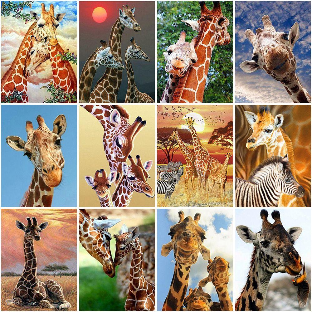 Full Drill Giraffe DIY 5D Diamond Painting Cross Stitch Kits Mosaic Home Decor