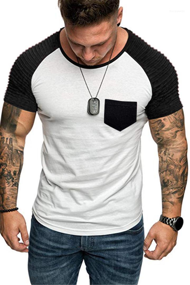 Tees 4Colors Artı boyutu Kontrast Renk Mens tişörtleri Pileli Kol Ç Yaka İnce Yaz Casual Cepler
