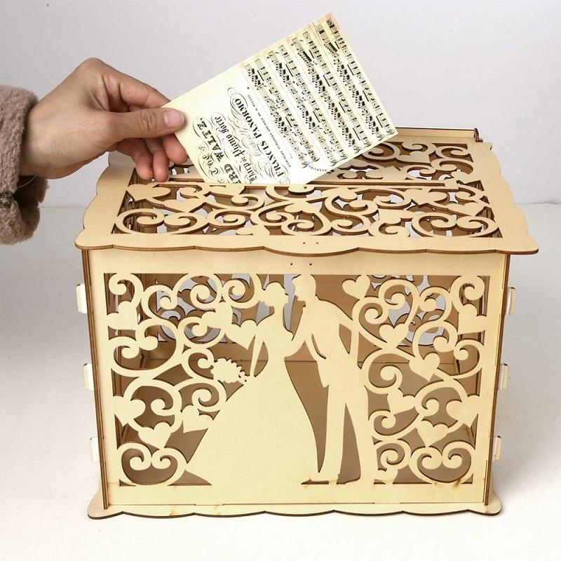 DIY boda de madera tarjeta Cash Box caja DIY Pareja patrón de belleza Suministros de Decoración de boda para la fiesta de cumpleaños