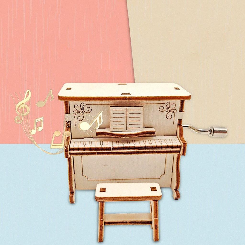 Mão de madeira Vintage Cranked DIY Music Box Game Music tema de decoração de casa Clockwork Caixas do presente de aniversário presente de Natal PCDI #