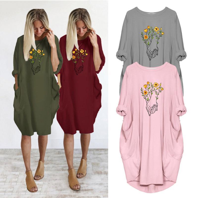 Fiore della mano della stampa donne vestono Autunno Inverno sottile manica Plus Size Midi donna Abiti allentato Vintage Pocket Partito Vestiti lunghi