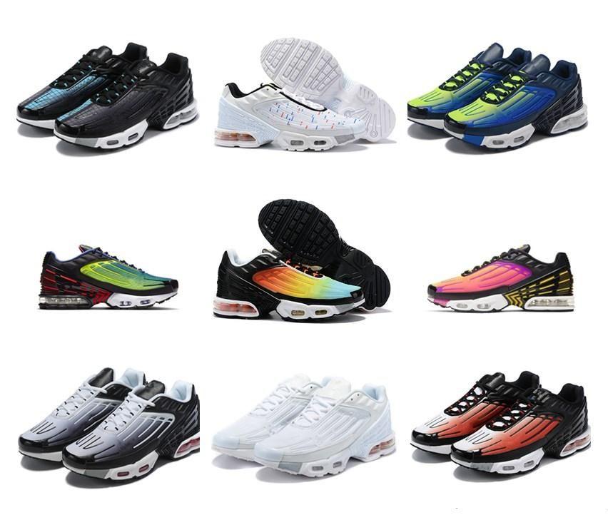 de haute qualité TN Plus III 3 Hommes Femmes entraîneur TUNED Chaussures de course classique Airs de sport Sport Noir Blanc Chaussures de sport Shock Bleu Araignée Réquin