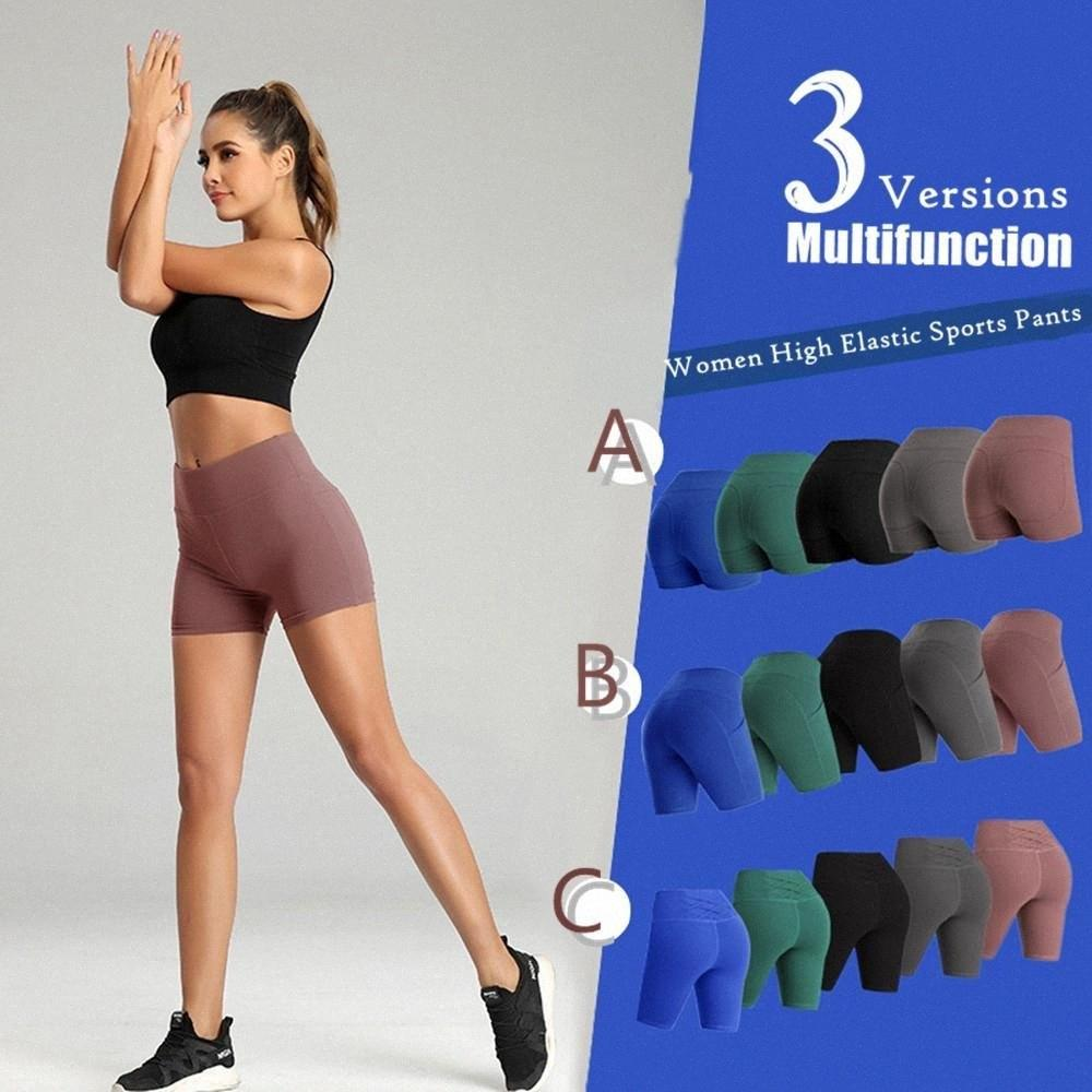Spor Stretch Sports Kısa Pants 5 Renkler Koşu ABD STOK Kadınlar Casual Katı Elastik Yüksek Bel Push Up Spor Yoga Şort 3 Stiller FY l515 #