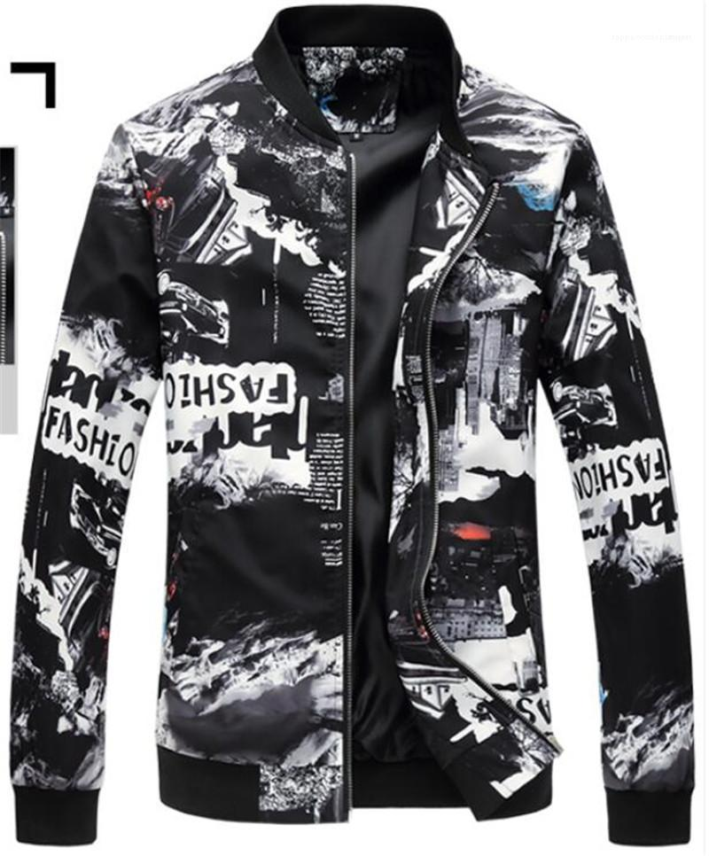 Плюс Размер куртка Художественной города Печать Мужчины Стенд воротник куртка способ Homme вскользь куртки Дизайнерской мужские