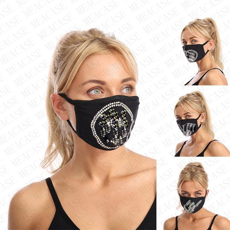 Strass tendance de diamant de Bling Réutilisable Face Femmes Shinning Glitter Gem Jewel Masque Masques anti-poussière lavable Shinny D8607