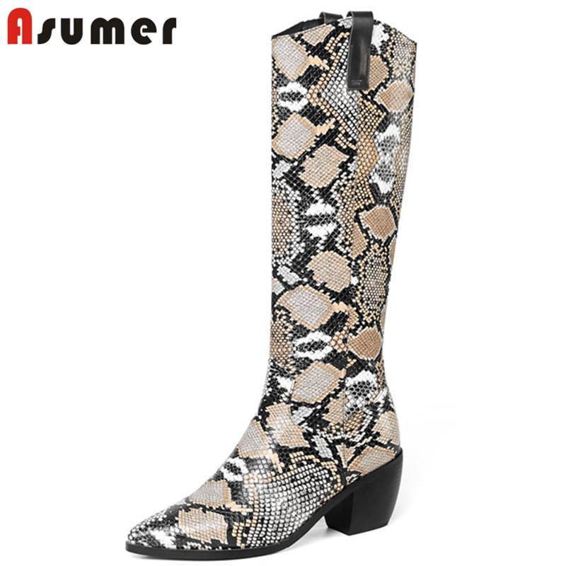ASUMER 2020 grande taille 46 Cuissardes femme serpent glissement bout pointu sur les bottes occidentales talons carrés chaussures automne hiver femme