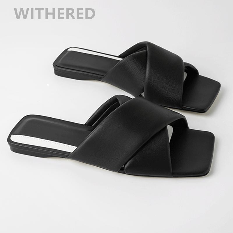 2020 plana complementos de cuero cosecha blogger de moda Davedi cruz mujer mulas playa simples zapatillas zapatos de las mujeres