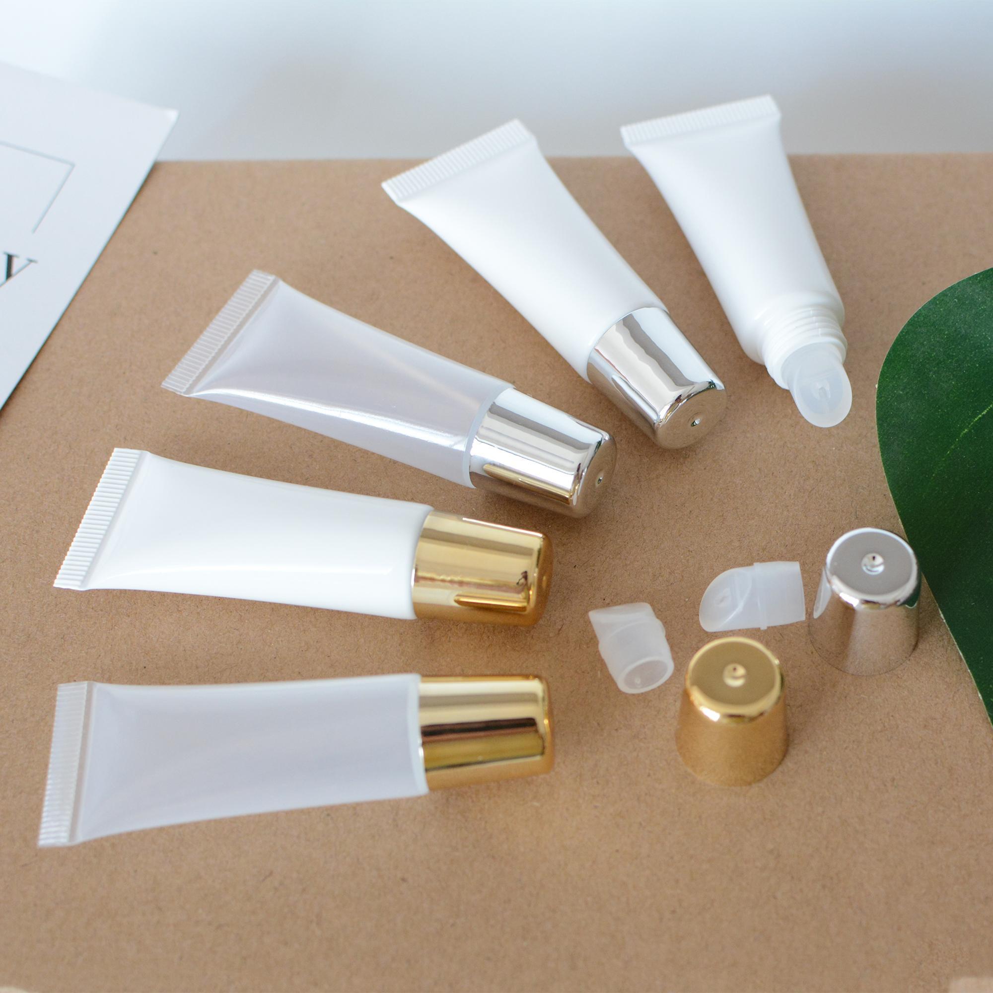 10ML PE الخالي الضغط ملمع الشفاه أنابيب الحاويات، وبالجملة، DIY اليدوية PE ضغط الشفاه الصقيل الحاويات أنابيب الذهبية / الفضية كاب