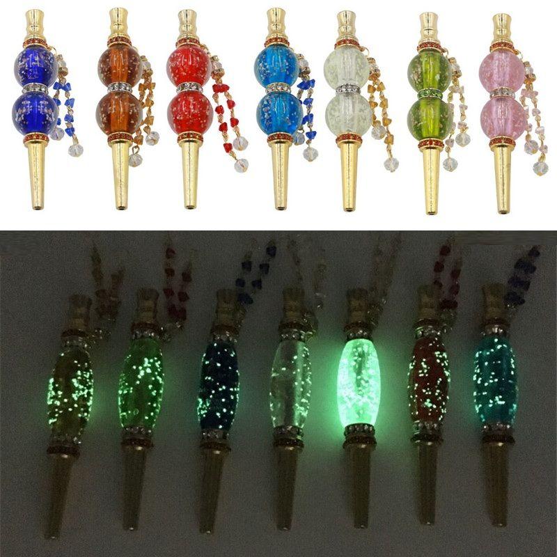 GLOW lumineux Shisha Conseils Noctilucent main arabe amovible Bijoux en alliage marqueté Hookah Head Bouche Piece Dabber Filtre Embouchure