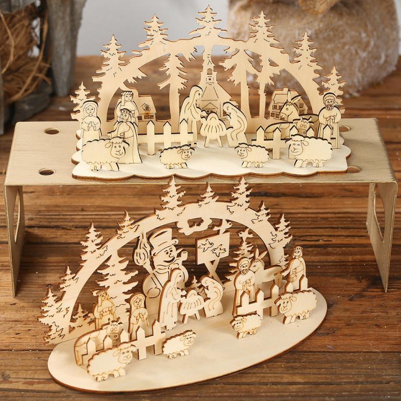 Regalo de Navidad de la natividad de escritorio de madera Decoración Chalet Bosque partido del hogar Decoración de Navidad 2020 adornos de año nuevo