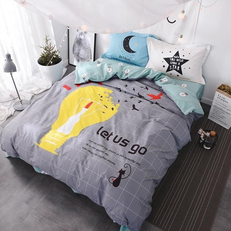Conjunto de dibujos animados 100cotton Elk cama de edredón de lino Moda Ropa de cama conjuntos de estilos de ropa de cama 4pcs Hoja ciervos cubierta bWLfW