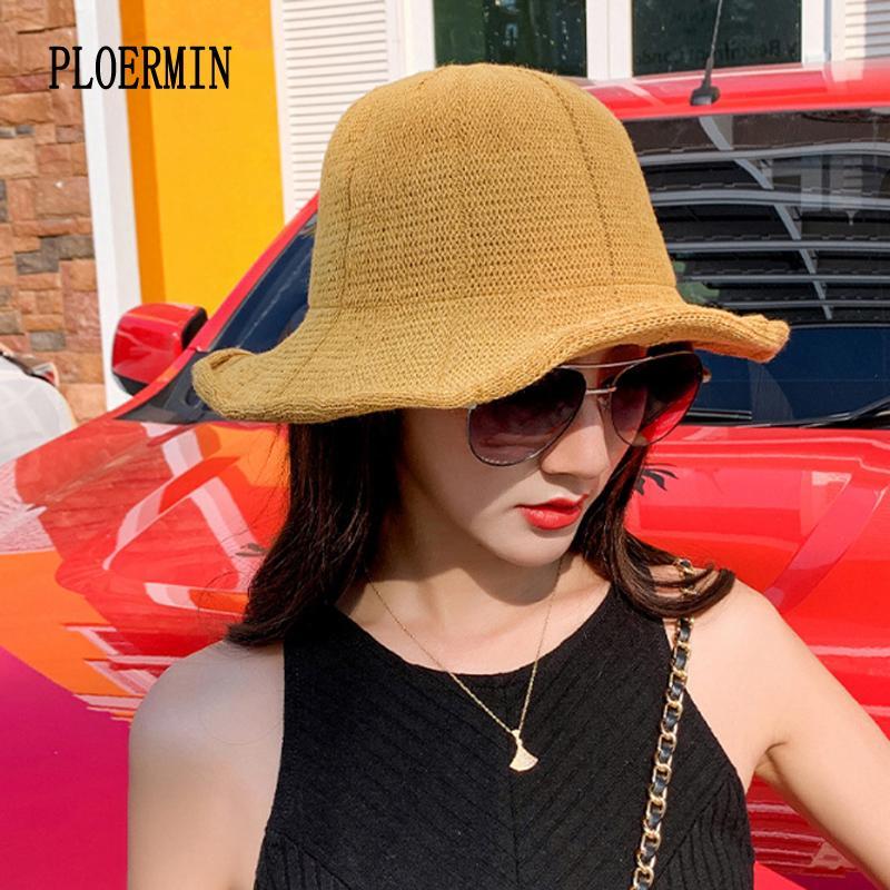 Лето Женщина ВС Hat Женщина путешествие большого широкий Брим Хлопок Anti-UV-Бич ковш Floppy Flat Рыбак Hat Вводный Gorras