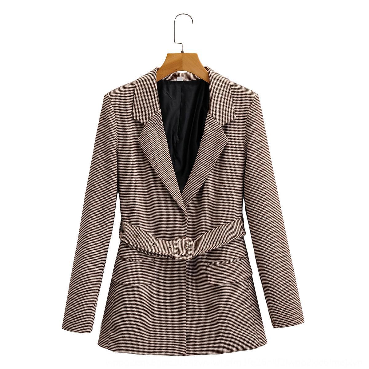 di Pqt3S Q3270-donne vestiti 2020 primavera e l'autunno nuovo cappotto Uccello reticolo con cintura giacca per le donne