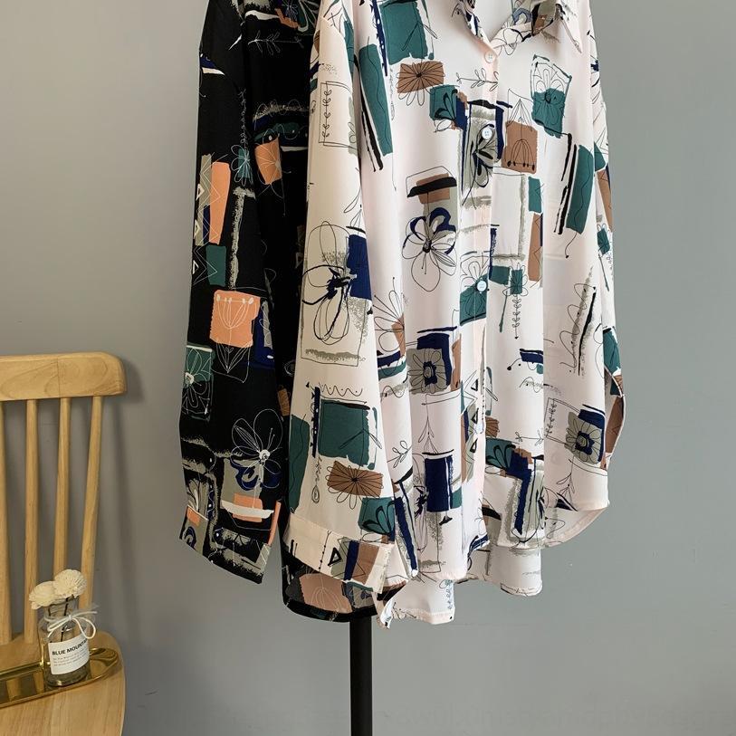 ajkiT nZoJV Kadın kadın kol Tangzhi lezzet giyim yaz antik Hong Gömlek gömlek Kong 2020 bfwind düzensiz baskı uzun yeni üst 1