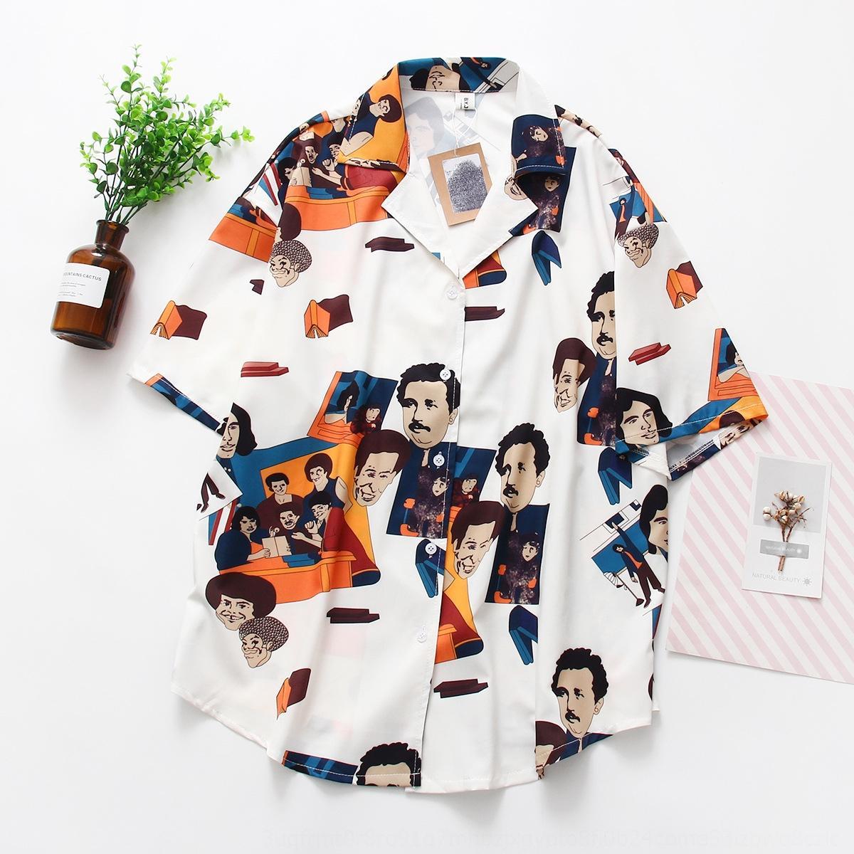 Verão 2019 nova camisa do desgaste das mulheres estudante coreano estilo solto terno gola camisa de chiffon de manga curta