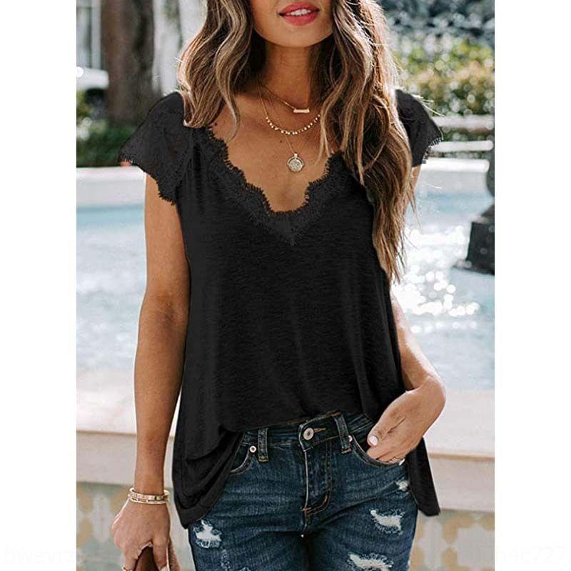 2020 Estate con scollo a V cuciture colore solido di 3RZcg donne 2020 della maglietta di estate del merletto del V-collo delle donne cucitura maglietta di colore solido