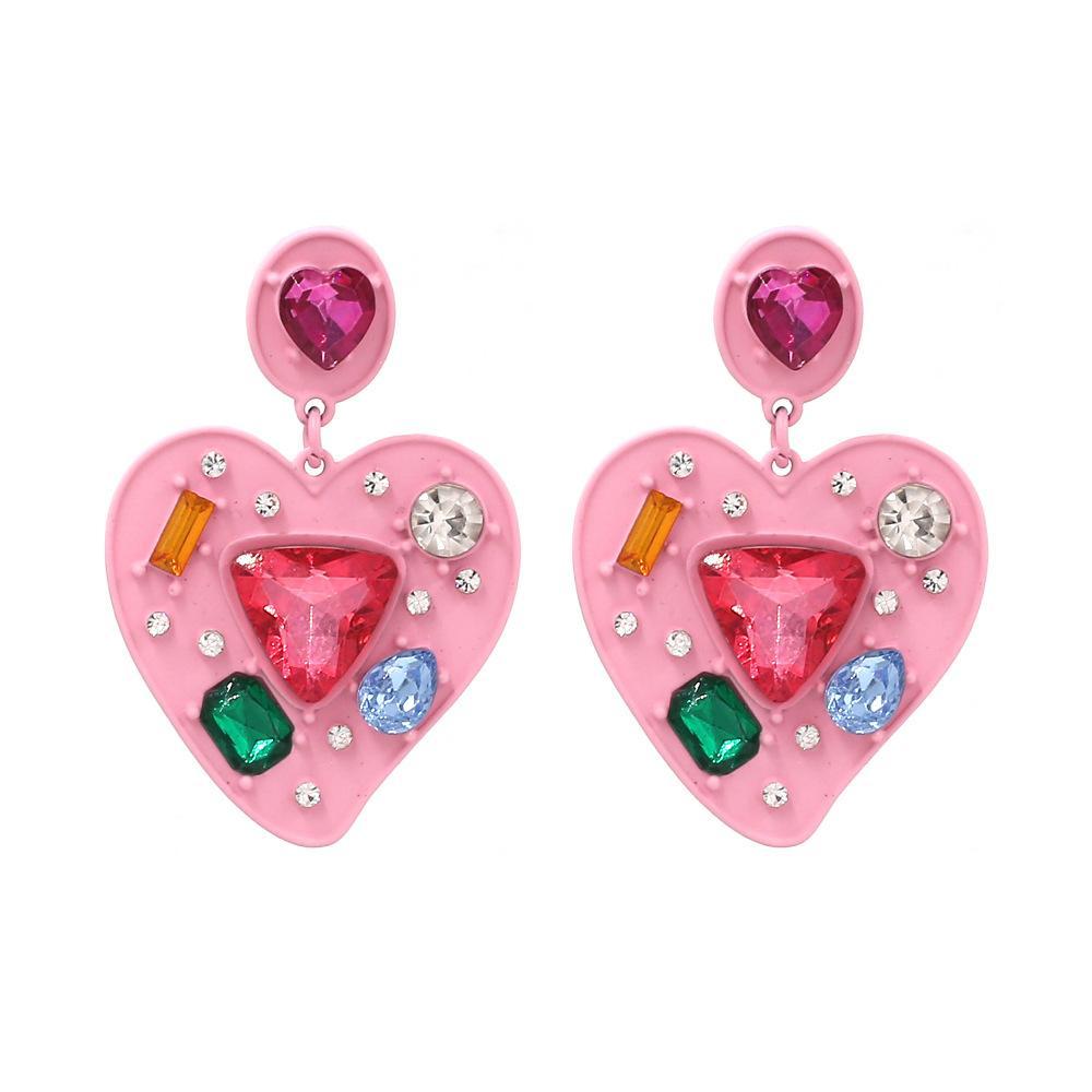 2020 إنس فاهيون كاندي اللون الوردي الحلو قلب الحب أقراط Kroean الجمال كريستال مربط القرط للمرأة بنات