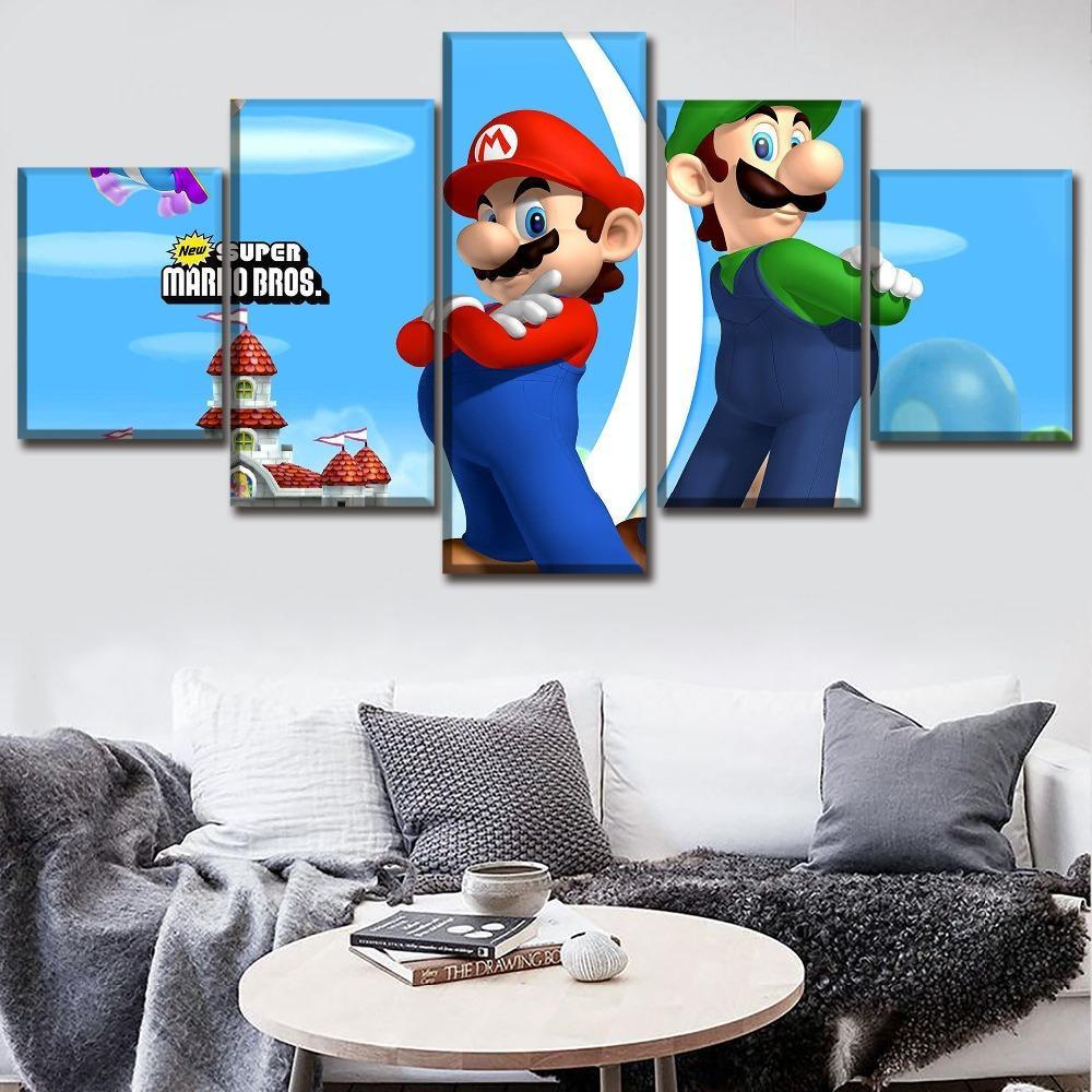 Canvas Jogo Poster Wall Art Quadro 5 peça Super Mario desenhos animados clássicos Bros Pintura HD Impresso Tipo Fotos For Kids quarto