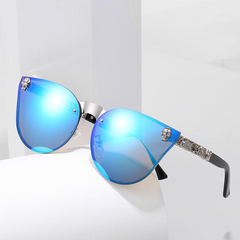 Lenses On Legs Style With Cool Sunglasses Frame New 2020 Design Rimless Women Skull Gothic And Special Flower Rivet Amhbu