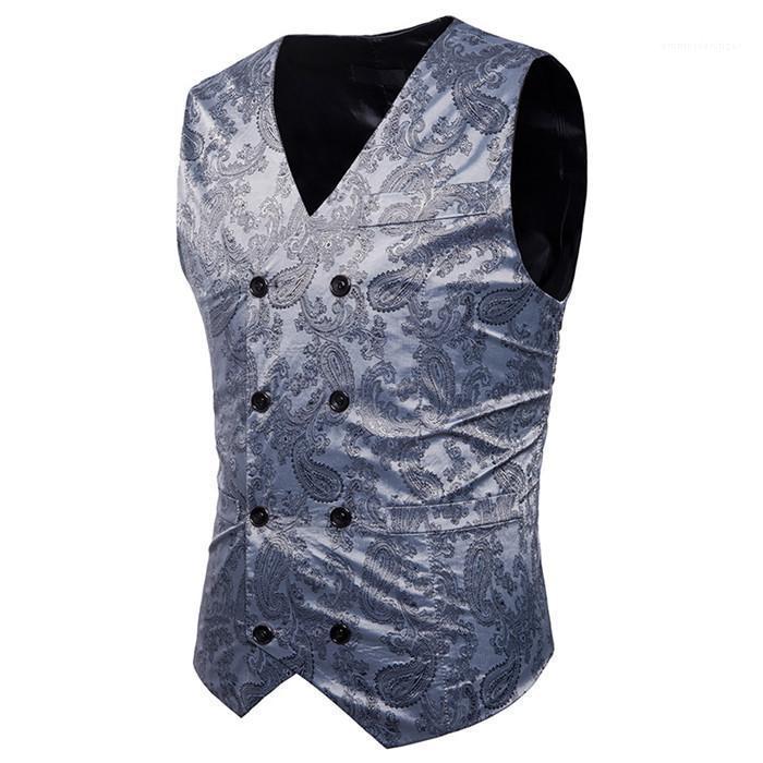 Düğme Erkek Giyim Leopar Erkek Takım Elbise Yelek Kolsuz Casual ile Mens Dış Giyim