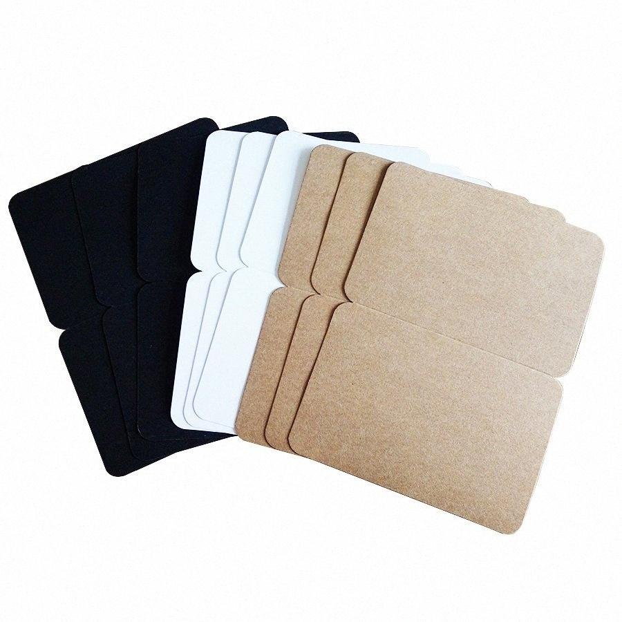 10pcs / lot blanc pliant Carte postale Trois sélection Kraft papier carte postale carte de voeux cadeau OpbU #