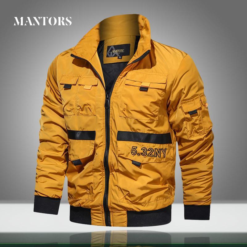 Los nuevos hombres chaqueta experimental casual color sólido chaquetas para hombre del collar del soporte de la chaqueta de bombardero de otoño ropa masculina Outwear las capas Multi-bolsillo
