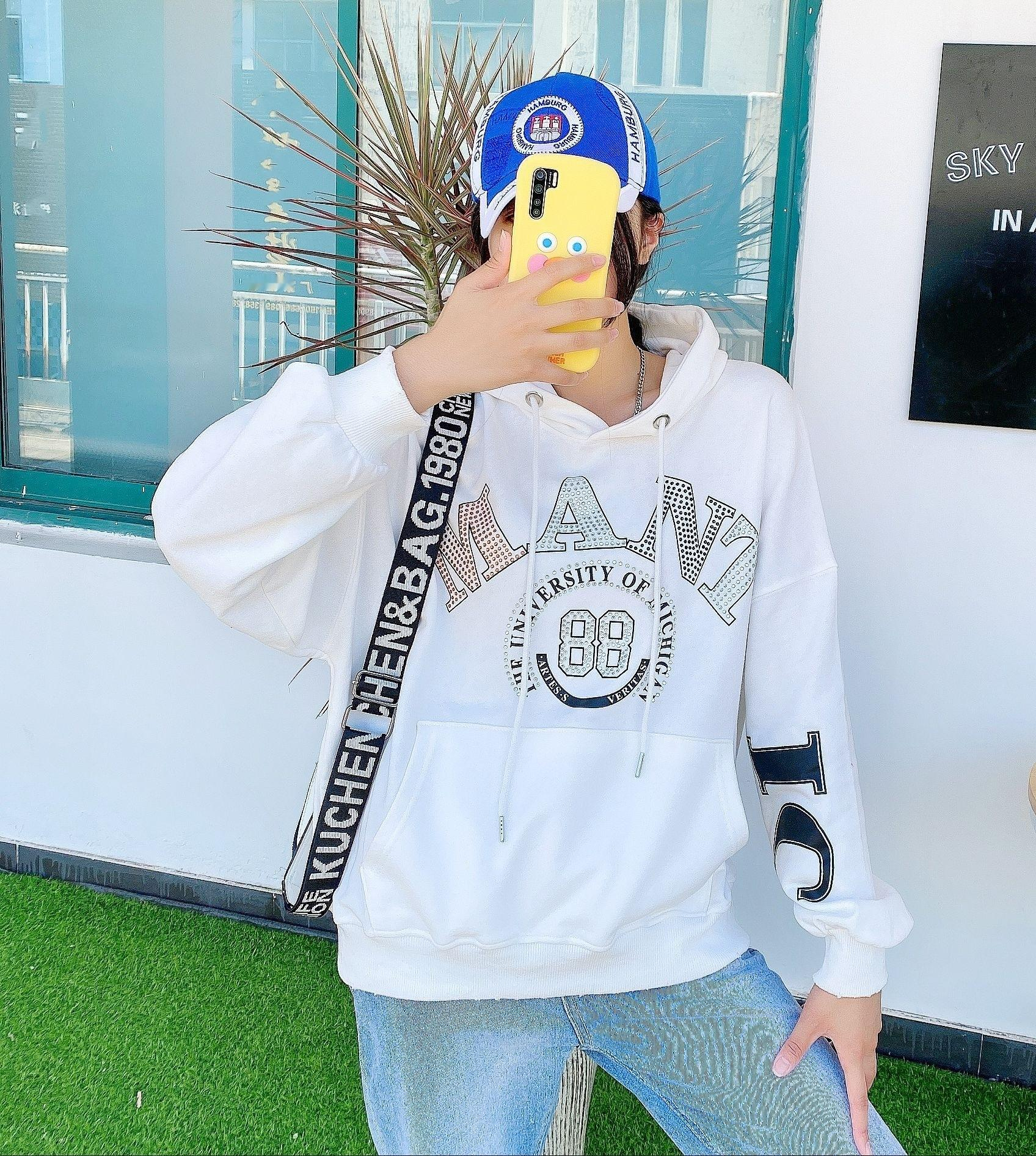 Women's 2020 autumn and winter New hooded Women's Mid-length large pocket loose pullover Korean Pullover sweater style hot diamond sweater f
