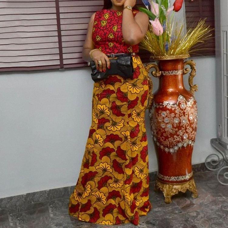 Женщины партии Bodycon Maxi платье Элегантный Sexy Русалка вечер Цветочные Robe Vintage рукавов Лето African Длинные платья дамы Y200109 Uq76 #