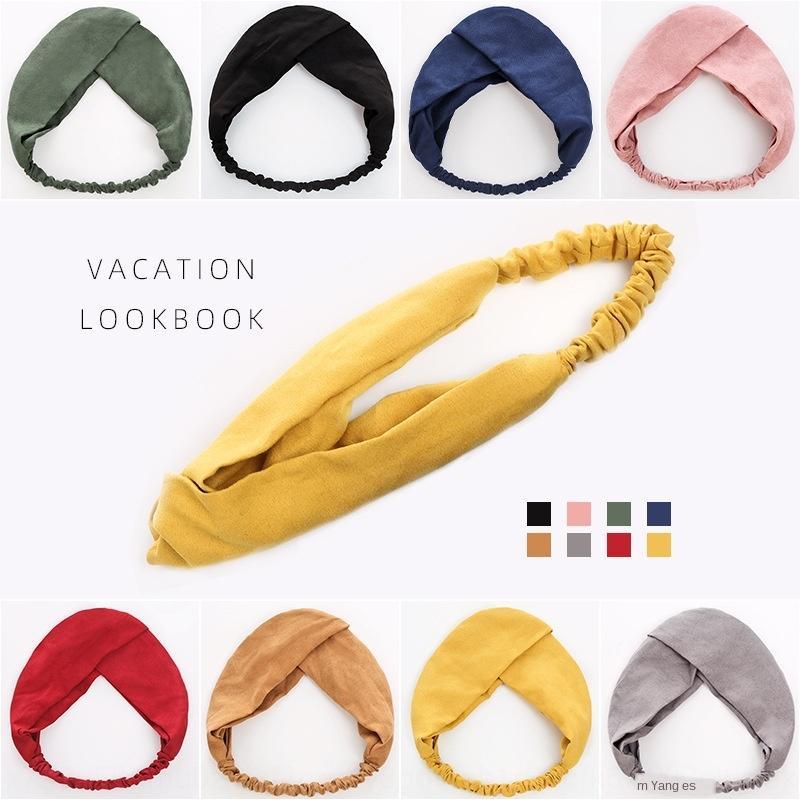 2020 nouvelle bande de accessoires de bande élastique croix couleur unie à la main simple cheveux style littéraire suède femmes cheveux