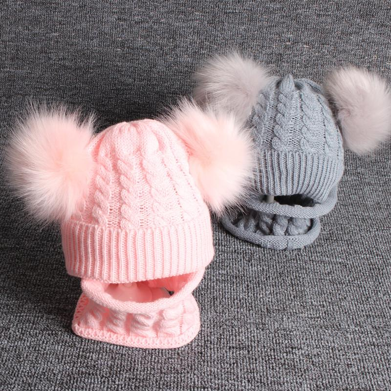 Toddler Baby Boys Girl Winter Cap Double Hairy Ball Hats Scarf Set Kids Girls Boy Soft Warm Fur Bobble Knitted Beanies Hats