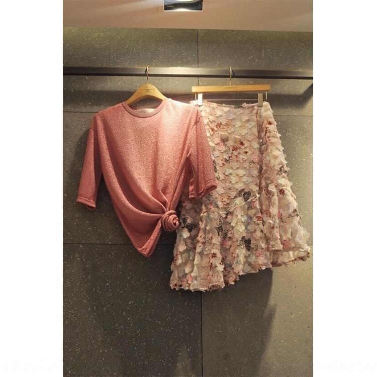 Kadınlar için sSz3v 2020 Dongdaemun Yaz yeni elbise ipek yuvarlak boyun tişört + taç yaprağı etek A- çizgi iki parçalı moda elbise tişört parlak takım elbise