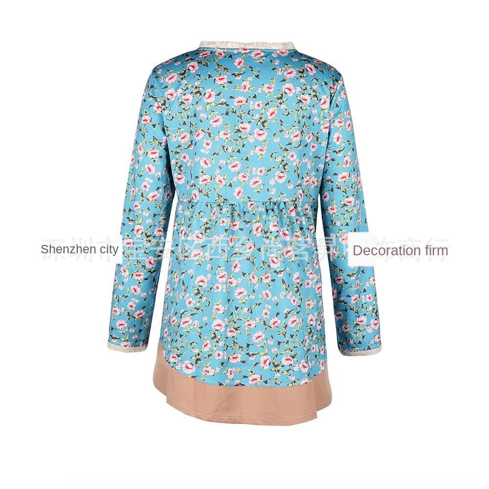 Kadınlar için büyük uzun 2019 T dantel Dantel Gömlek V yaka hırka ceket gömlek çiçek gevşek Coat boyutu dikiş dRcJj kol yayı