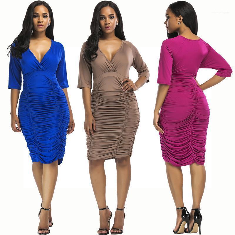 Festen Kleider Farbe tiefer V-Ausschnitt Plissee-Hüfte-Kleid Damenmode Luxus Designer-Kleider der Sommer-Frauen plus Größe 3XL Bodycon