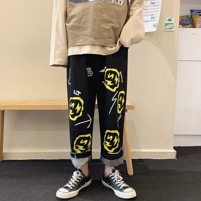 moda solta moderno estilo reta coreano dos homens impressos perna larga ocasional primavera pai e calça jeans calças e jeans estudante verão calças compridas ra