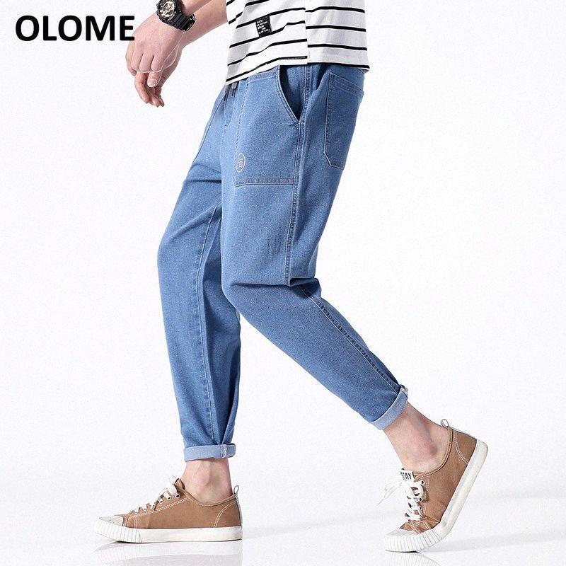 Pantaloni dei nuovi uomini dei jeans sottile Trend Hong Kong vento diritto allentato Barrel jeans giovani maschi strappato per gli uomini biker 8jlt #