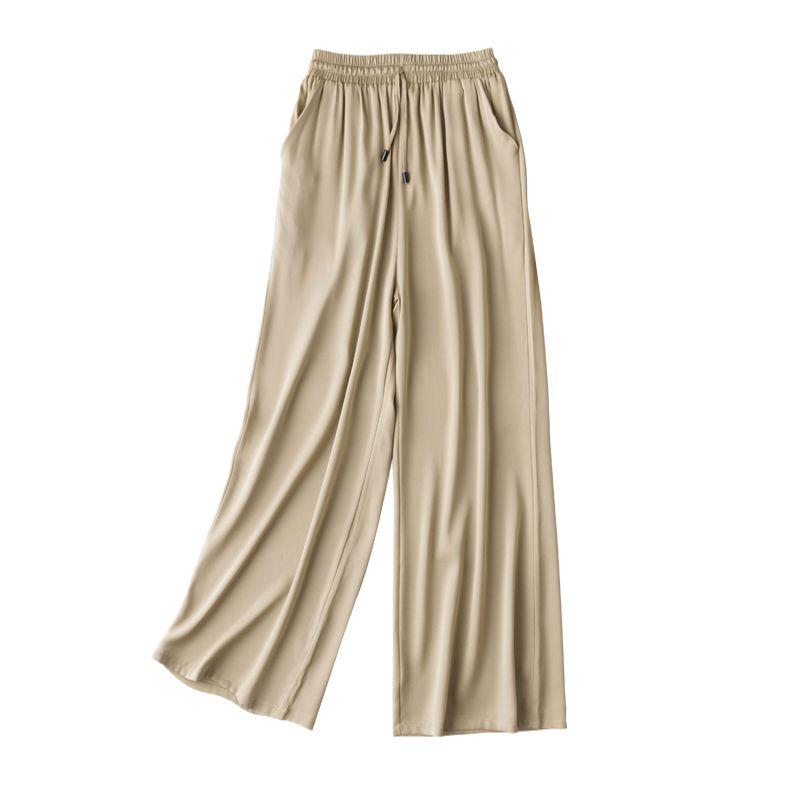 2020 New Women Summer Autumn Natural Silk Pants Silk Loose Style Trousers Work Wear Holiday wide leg Khaki Pants